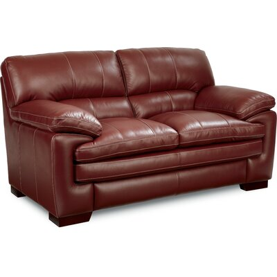 Dexter Leather Loveseat Upholstery: Red