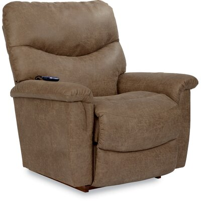 James Recliner Upholstery: Steel Gray, Reclining Type: Power-Remote-Massage & Heat, Motion Type: Rocker