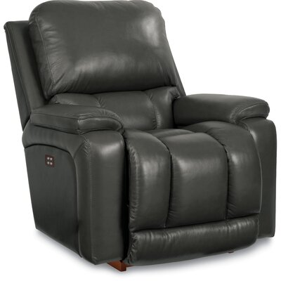 Greyson Leather Rocker Recliner Upholstery: Charcoal, Reclining Type: Power Reclining- Push Button