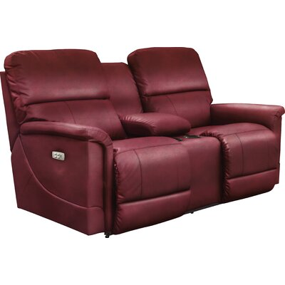 Oscar Power Reclining Loveseat with Console Upholstery: Crimson