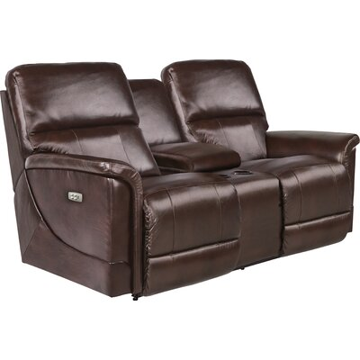 Oscar Power Reclining Loveseat with Console Upholstery: Chocolate