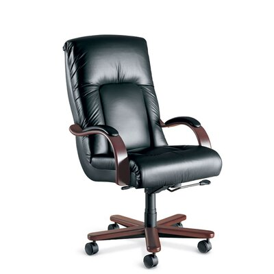 La-Z-Boy Sintas High-Back Office Chair with Arms - Upholstery: Hudson - Brown, Finish: Formal Mahogany