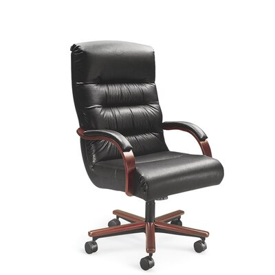 La-Z-Boy Horizon High-Back Office Chair with Arms - Finish: Dark Cherry, Upholstery: Rio - Black Gloss (Leather), Casters: Standard