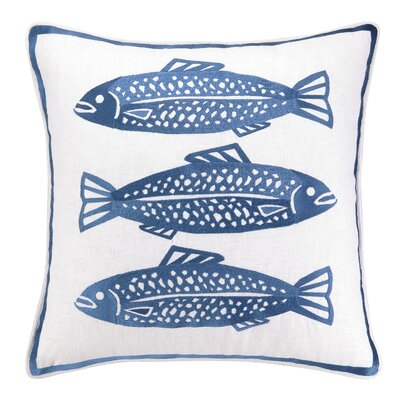 3 Fish Embroidered Linen Pillow