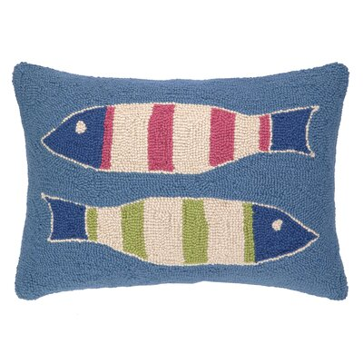 Picket Fish Hooked Wool Lumbar Pillow Color: Blue