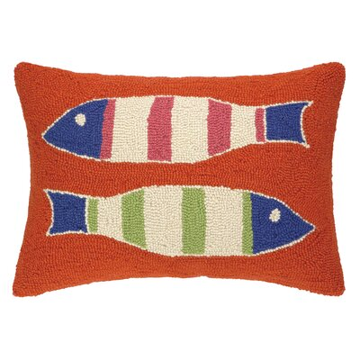 Picket Fish Hooked Wool Lumbar Pillow Color: Orange