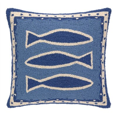 Oriental Fish Hooked Square Wool Throw Pillow