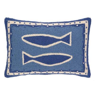Oriental Fish Hooked Oblong Wool Lumbar Pillow