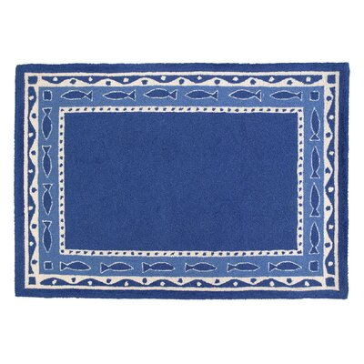 Oriental Fish Hooked Blue Area Rug