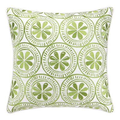 Sand Dollar Embroidered Linen Throw Pillow Color: Green