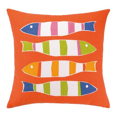 Picket Fish Indoor/Outdoor Throw Pillow Fabric: Orange