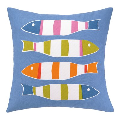 Picket Fish Indoor/Outdoor Throw Pillow Fabric: Blue