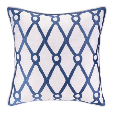 Fish Net Embroidered Linen Throw Pillow Color: Navy