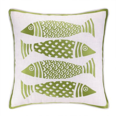 4 Fish Embroidered Throw Pillow
