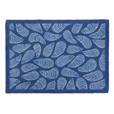 Mussels Blue Hooked Area Rug