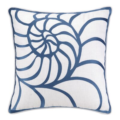 Nautilus Embroidered Linen Throw Pillow