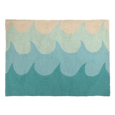 Waves Hooked Turquoise Area Rug