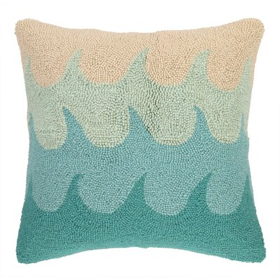 Waves Hooked Wool Throw Pillow