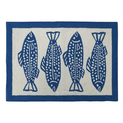 Oceanic Hooked Blue Area Rug
