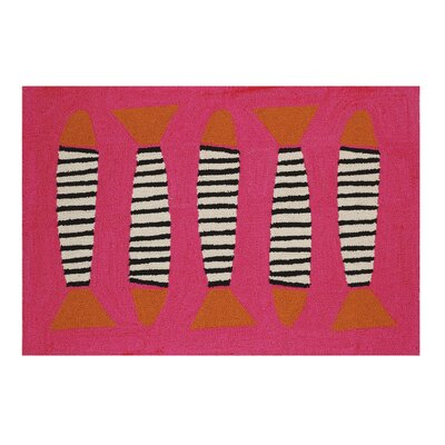 Fish Hooked Zebra Area Rug Color: Pink/Black