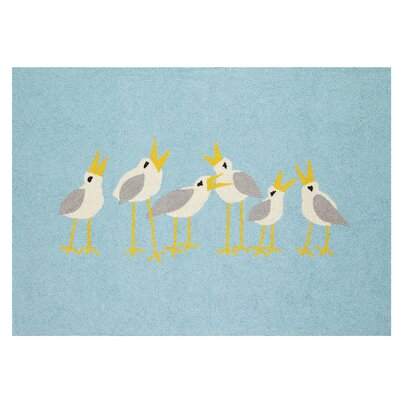 Seagulls Blue Area Rug