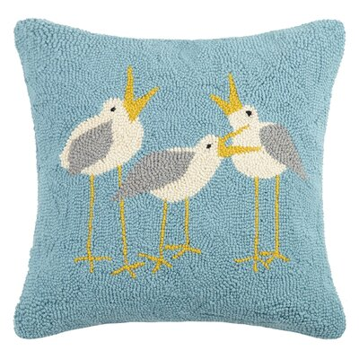 Seagulls Hook Wool Throw Pillow