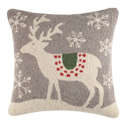 Scandinavian Deer Wool Throw Pillow