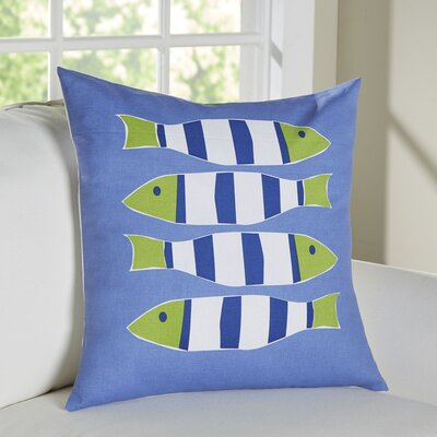 Nautical Outdoor Cotton Throw Pillow Color: Four Blue Fish