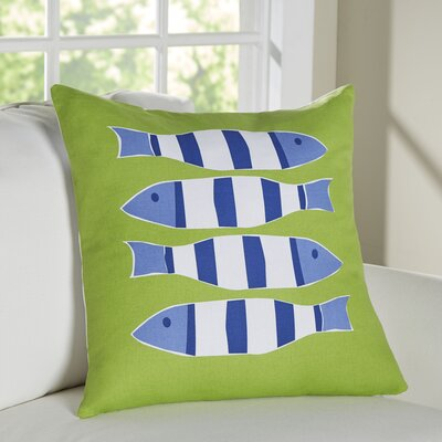 Nautical Outdoor Cotton Throw Pillow Color: Four Green Fish
