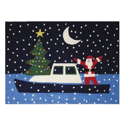 Graham Santa Boat Holiday Hand Hooked Wool Black Area Rug