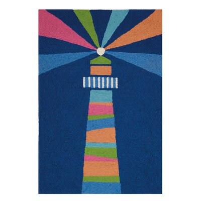 Fowler Lighthouse Oars Regatta Hand Hooked Wool Blue Area Rug
