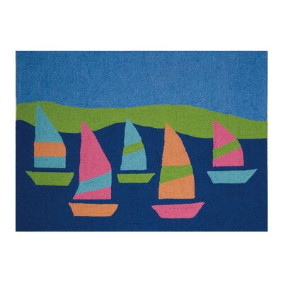 Greenpoint Lighthouse Oars Regatta Hand Hooked Wool Blue Area Rug
