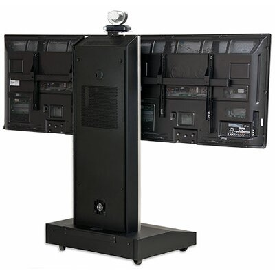 Moble Telepresence Stand with Dual Monitor Mount for 32 -70 Displays Finish: Auburn Pear