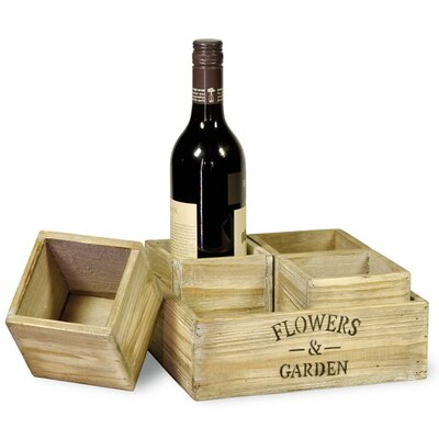 5 Piece Wood Flowers Square Box Set