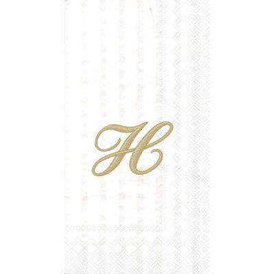 Monogram Paper Guest Hand Towel Letter: H