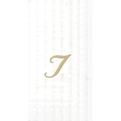 Monogram Paper Guest Hand Towel Letter: I