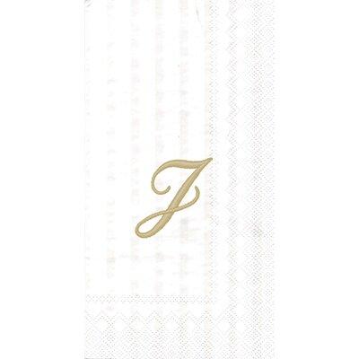 Monogram Paper Guest Hand Towel Letter: J