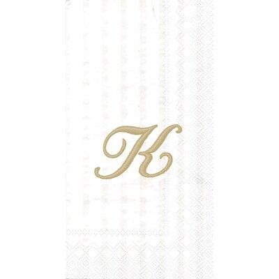 Monogram Paper Guest Hand Towel Letter: K