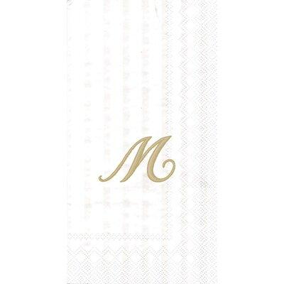 Monogram Paper Guest Hand Towel Letter: M