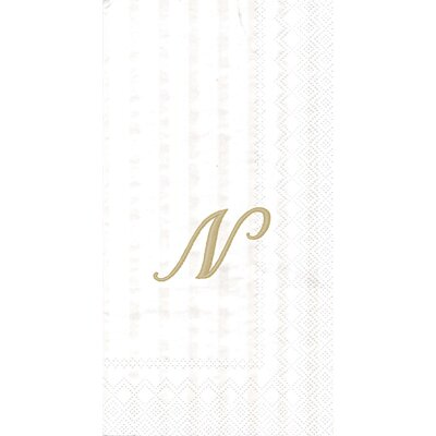 Monogram Paper Guest Hand Towel Letter: N