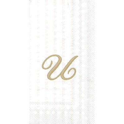 Monogram Paper Guest Hand Towel Letter: T