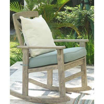 Porto Rocking Chair with Cushion Color: Spruce Blue