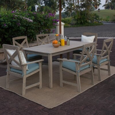 Porto 7 Piece Dining Set Cushion Color: Spruce Blue