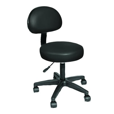 Rolling Stool with Removable Backrest Color: Black