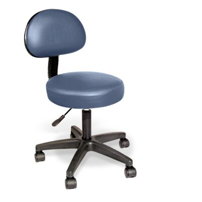 Rolling Stool with Removable Backrest Color: Agate Blue