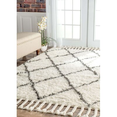 Twinar Hand-Knotted White Area Rug Rug Size: 12 x 15