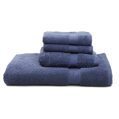 Terry 4 Piece Towel Set Color: Navy Blue