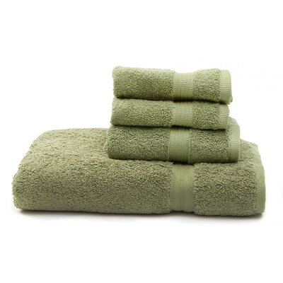 Terry 4 Piece Towel Set Color: Dark Green