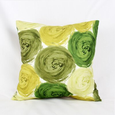 Impasto Circles Throw Pillow Color: Green