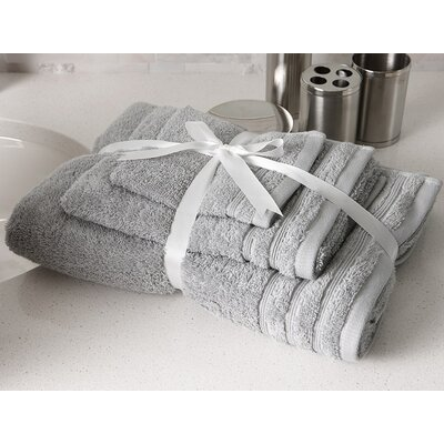 Edged Terry 3 Piece Towel Set Color: Grey